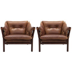 Arne Norell Leather Lounge Chairs Model 'Ilona'