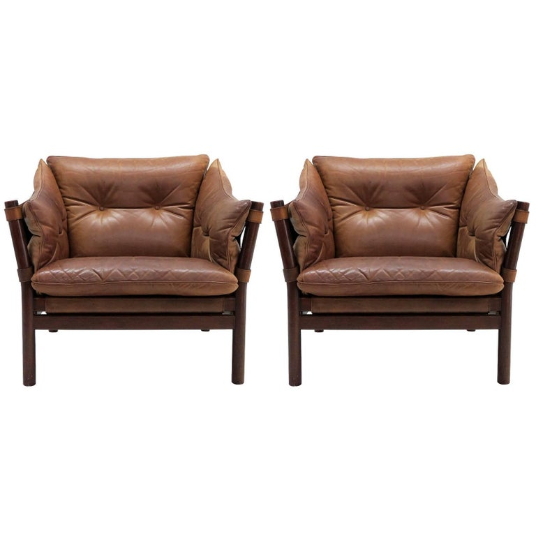 Arne Norell Leather Lounge Chairs Model 'Ilona' For Sale
