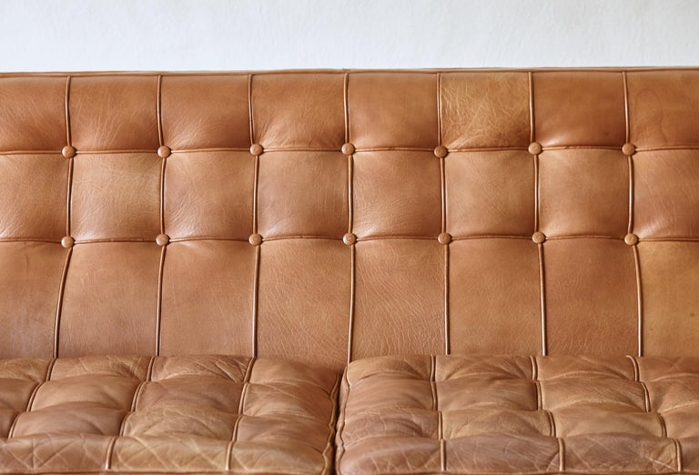 Arne Norell Leather Merkur / Mexico Sofa, Sweden, Norell Mobel, 1970s For Sale 4
