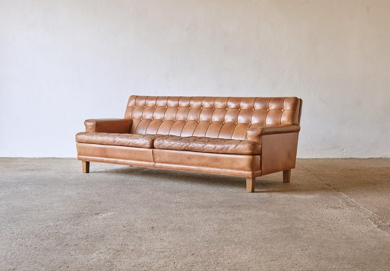 Mid-Century Modern Arne Norell Leather Merkur / Mexico Sofa, Sweden, Norell Mobel, 1970s For Sale