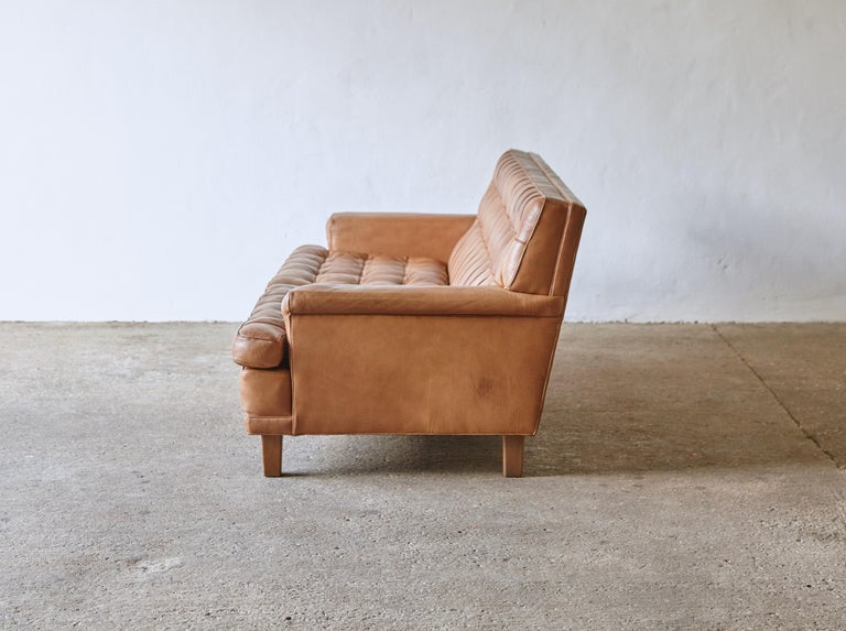 Swedish Arne Norell Leather Merkur / Mexico Sofa, Sweden, Norell Mobel, 1970s For Sale