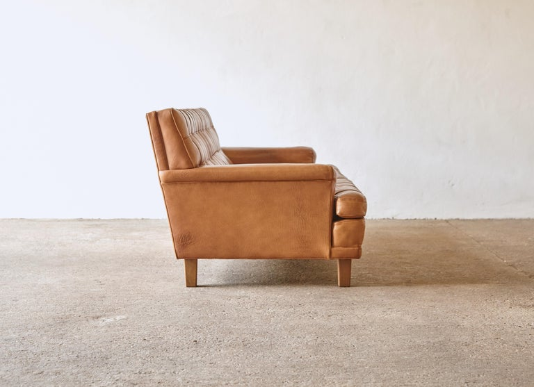 Arne Norell Leather Merkur / Mexico Sofa, Sweden, Norell Mobel, 1970s For Sale 2