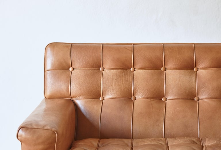Arne Norell Leather Merkur / Mexico Sofa, Sweden, Norell Mobel, 1970s For Sale 3