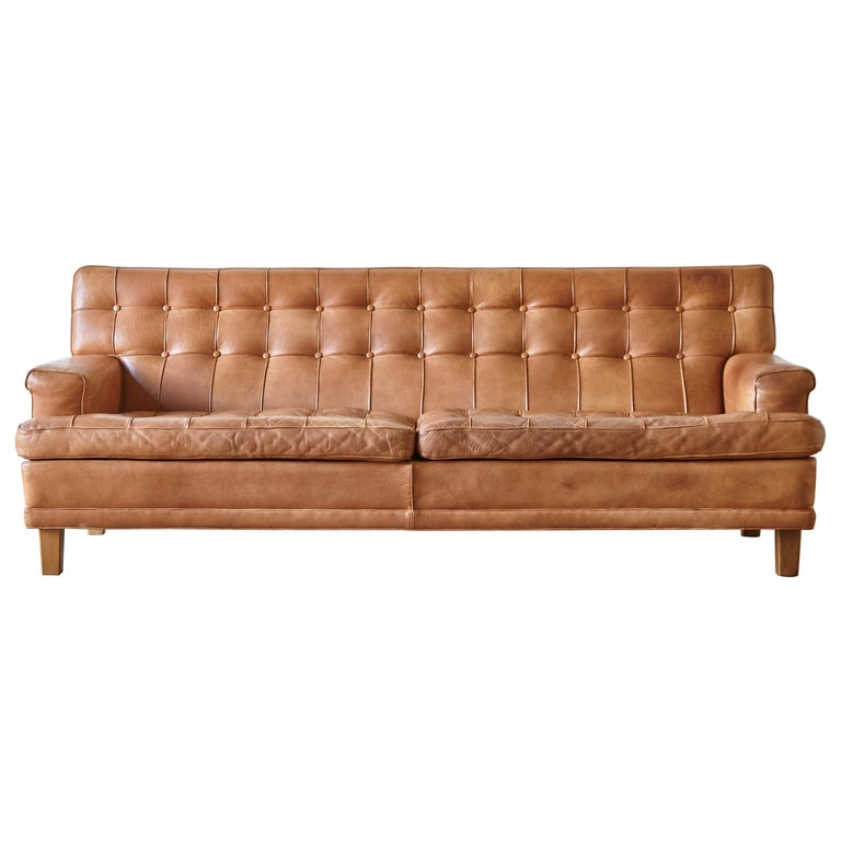 Arne Norell Leather Merkur / Mexico Sofa, Sweden, Norell Mobel, 1970s For Sale