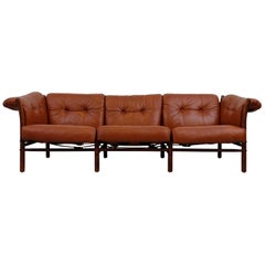 Arne Norell Leather Sofa, Model Indra, 1960s
