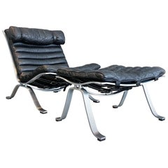 Arne Norell Lounge Chair and Ottoman Ari Steel Black Leather Sweden Vintage
