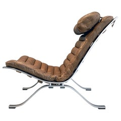 Arne Norell Lounge Chair and Ottoman Ari Steel Brown Leather Sweden Vintage