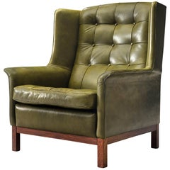 Arne Norell Lounge Chair in Patinated Green Leather