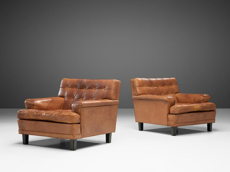 Scandinavian Modern Special listing for M: Arne Norell Lounge Chairs in Cognac Leather
