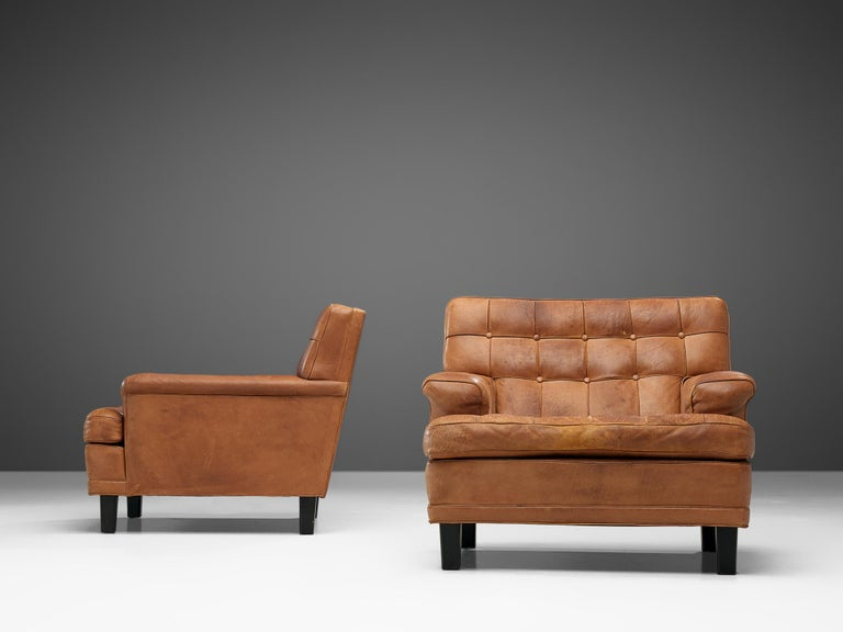 Swedish Special listing for M: Arne Norell Lounge Chairs in Cognac Leather
