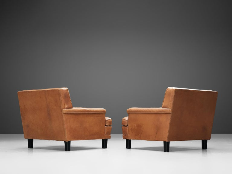Special listing for M: Arne Norell Lounge Chairs in Cognac Leather In Good Condition In Waalwijk, NL
