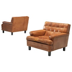 Arne Norell Lounge Chairs in Cognac Leather
