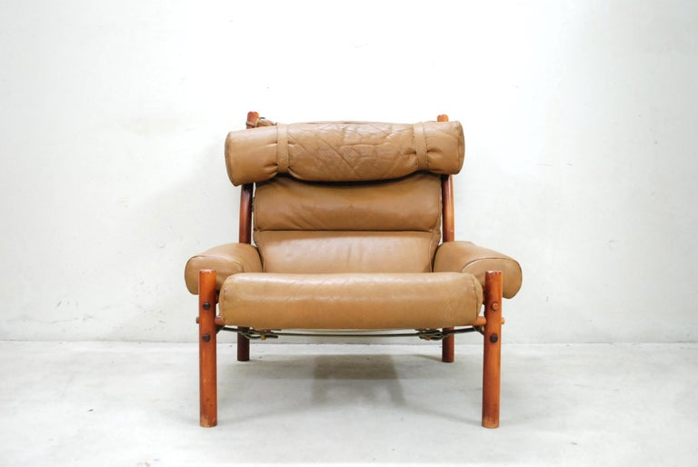 Arne Norell Model Inca Caramel Leather Lounge Chair and Ottoman For Sale 3