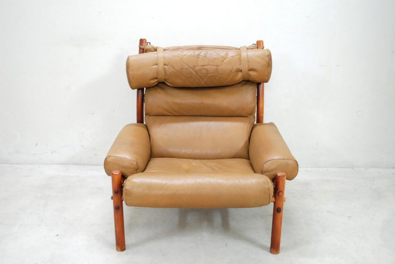 Arne Norell Model Inca Caramel Leather Lounge Chair and Ottoman For Sale 4
