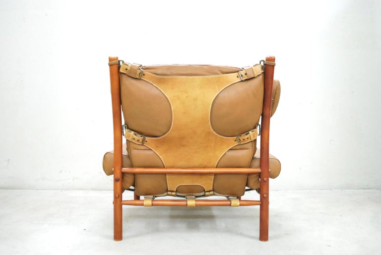 Arne Norell Model Inca Caramel Leather Lounge Chair and Ottoman For Sale 6