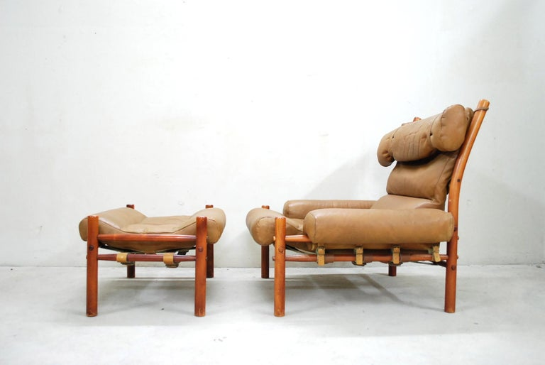 Mid-Century Modern Arne Norell Model Inca Caramel Leather Lounge Chair and Ottoman For Sale
