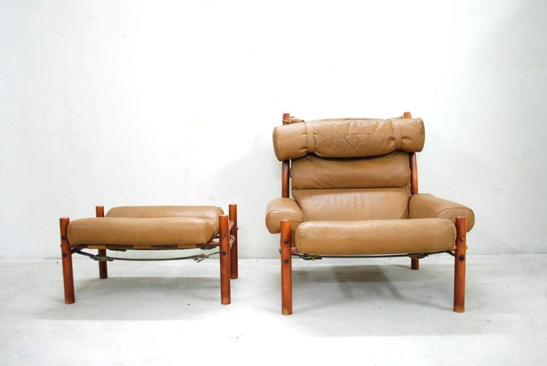 Swedish Arne Norell Model Inca Caramel Leather Lounge Chair and Ottoman For Sale