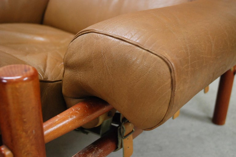 Arne Norell Model Inca Caramel Leather Lounge Chair and Ottoman For Sale 1