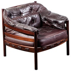 Arne Norell Rosewood and Leather Chair