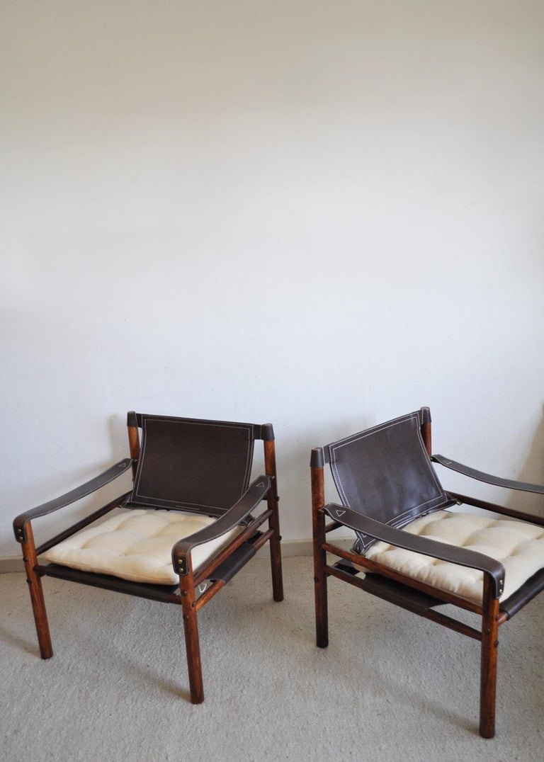 Arne Norell Rosewood and Leather Lounge Chairs Model Sirocco For Sale 3