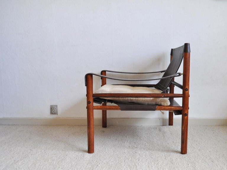 Arne Norell Rosewood and Leather Lounge Chairs Model Sirocco For Sale 5