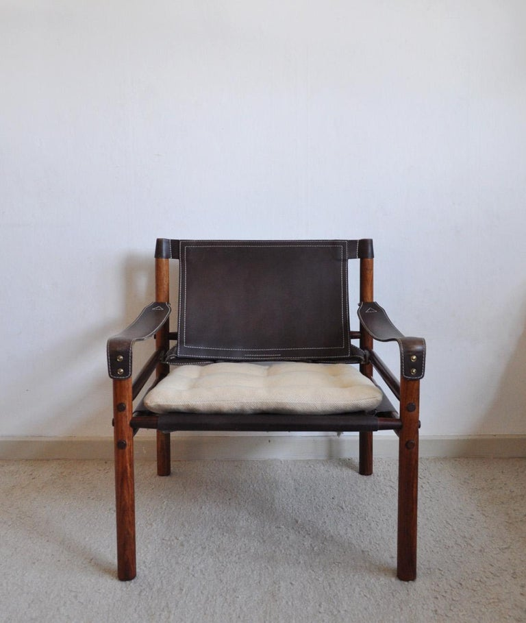 Scandinavian Modern Arne Norell Rosewood and Leather Lounge Chairs Model Sirocco For Sale