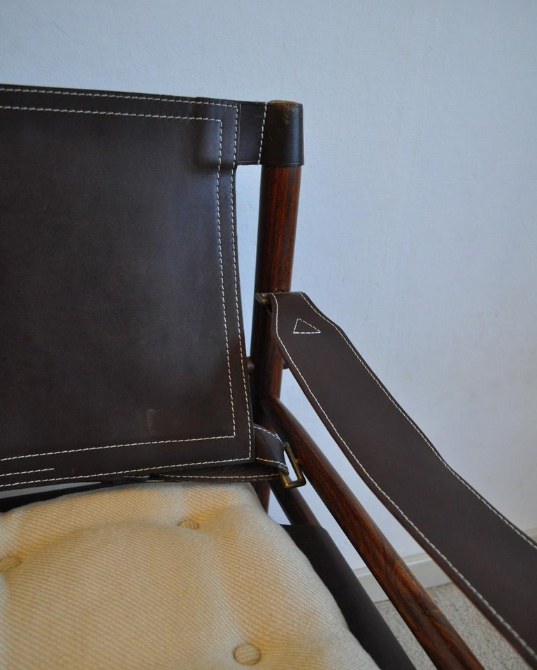 Swedish Arne Norell Rosewood and Leather Lounge Chairs Model Sirocco For Sale