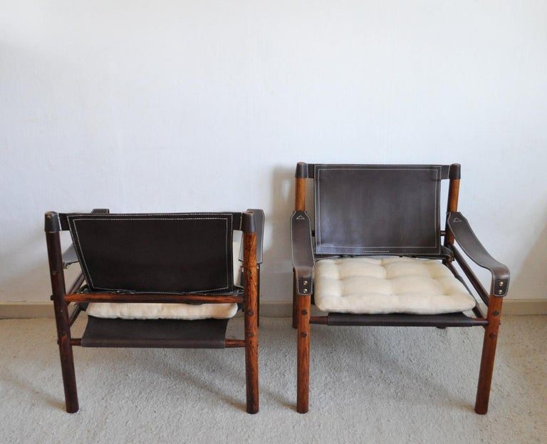 Arne Norell Rosewood and Leather Lounge Chairs Model Sirocco In Good Condition For Sale In Vordingborg, DK