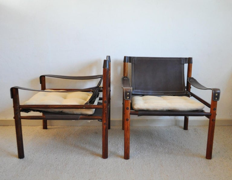 Arne Norell Rosewood and Leather Lounge Chairs Model Sirocco For Sale 1