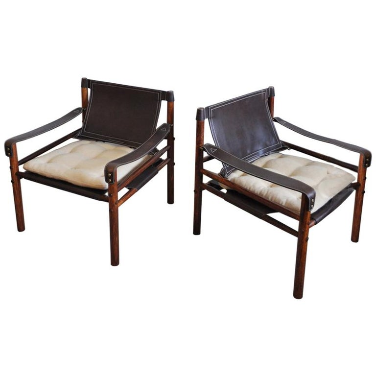 Arne Norell Rosewood and Leather Lounge Chairs Model Sirocco For Sale