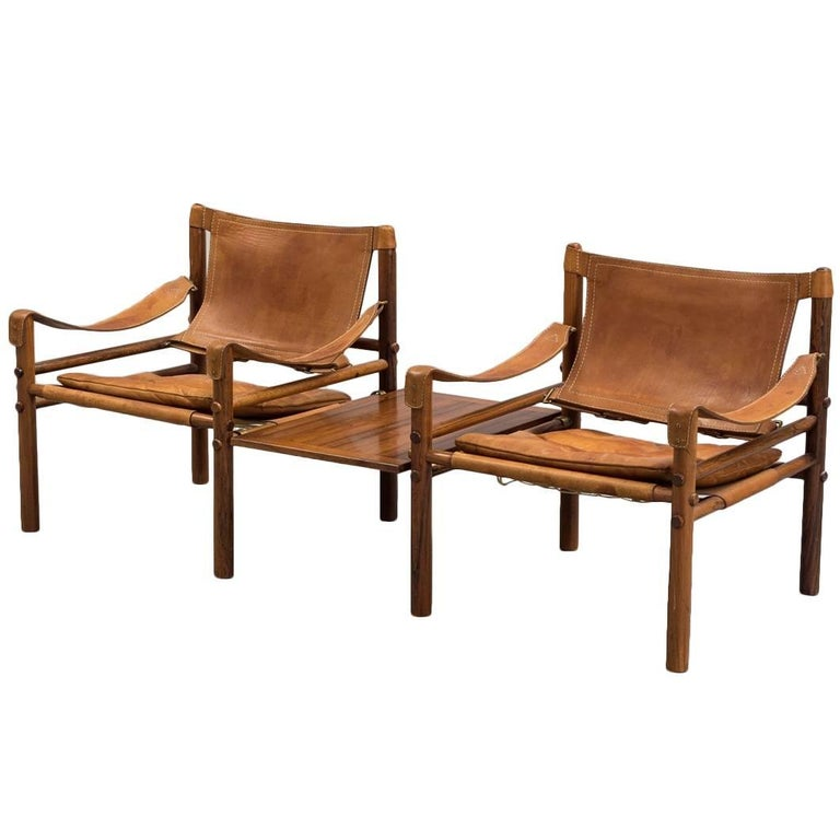 Arne Norell Rosewood and Tan Leather Safari Sirocco Chairs, Sweden, 1960s