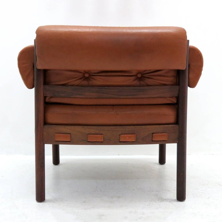 Leather Arne Norell Rosewood Lounge Chairs for Coja Culemborg For Sale