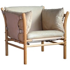 Arne Norell Safari 1960s Chair Model Ilona in Cream and Tan Leather