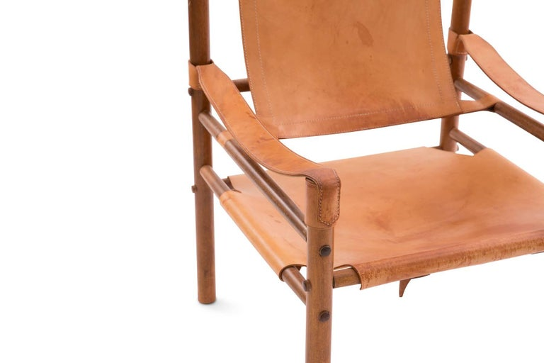 Mid-Century Modern Arne Norell 1960s Safari Sling Chair in Tan Leather For Sale