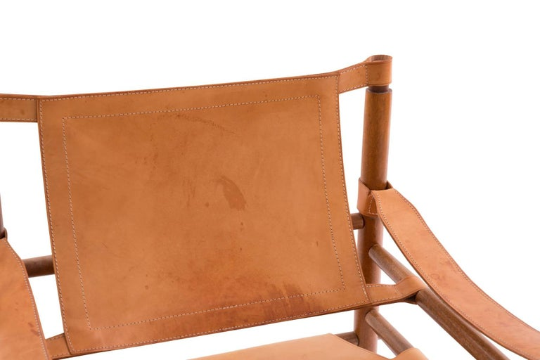 Swedish Arne Norell 1960s Safari Sling Chair in Tan Leather For Sale