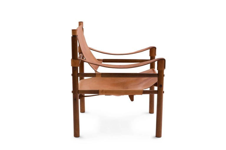Arne Norell 1960s Safari Sling Chair in Tan Leather In Good Condition For Sale In Phoenix, AZ