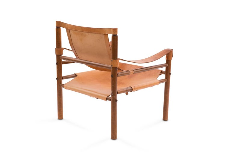 Mid-20th Century Arne Norell 1960s Safari Sling Chair in Tan Leather For Sale