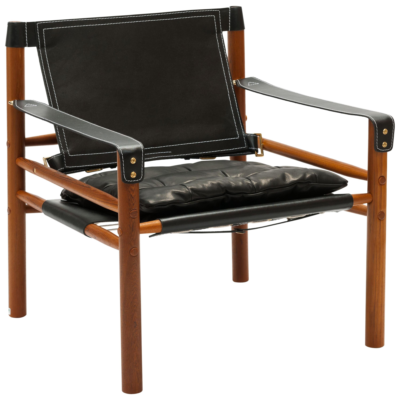 Arne Norell Sirocco Chair, Black Leather Swedish Modern 'Safari' Chair