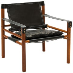 Arne Norell Sirocco Chair, Black Leather Swedish Modern 'Safari' Chair