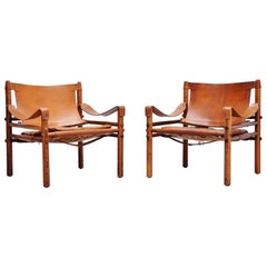 Arne Norell Sirocco Chairs in Cognac Sweden, 1964