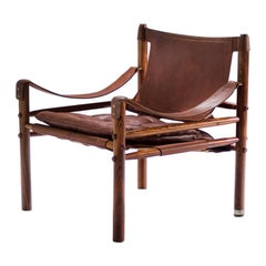Arne Norell Sirocco Safari Chair in Brown Leather, Sweden, 1964