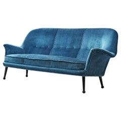 Arne Norell Sofa in Blue Velvet Upholstery
