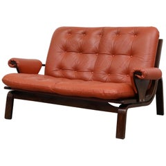 Arne Norell Style Leather Loveseat with Bent Wood Frame