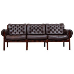 Arne Norell Style Tufted Leather Sofa by Sven Ellekaer for Coja