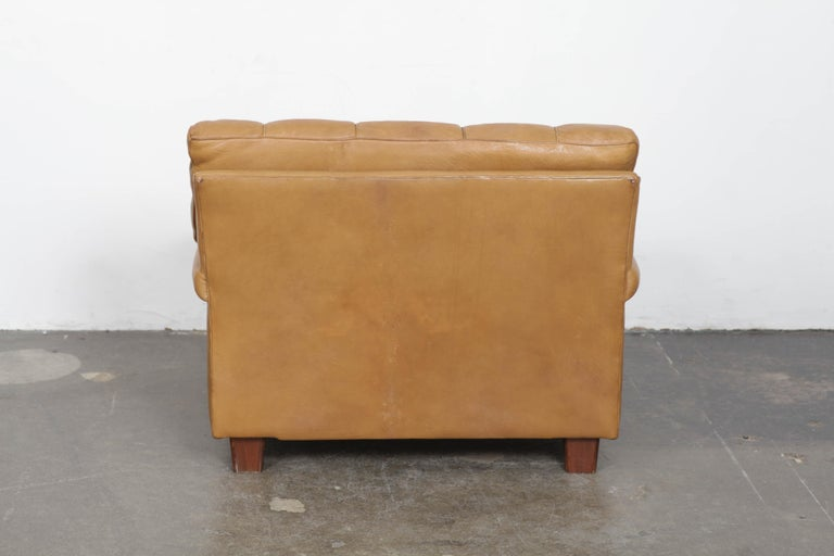 Arne Norell Tan Leather Tufted And Paneled Lounge Chair By