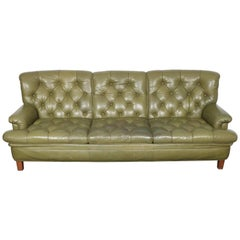Arne Norell Three-Seat Sofa in Green Leather