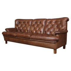 Arne Norell Three-Seat Sofa in Leather