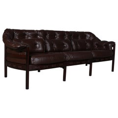 Arne Norell Three-Seat Sofa in Mahogany and Leather