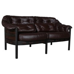 Arne Norell Two-Seat Sofa in Oak and Leather