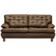 Arne Norell Two-Seat Sofa in Patinated Olive Green Leather